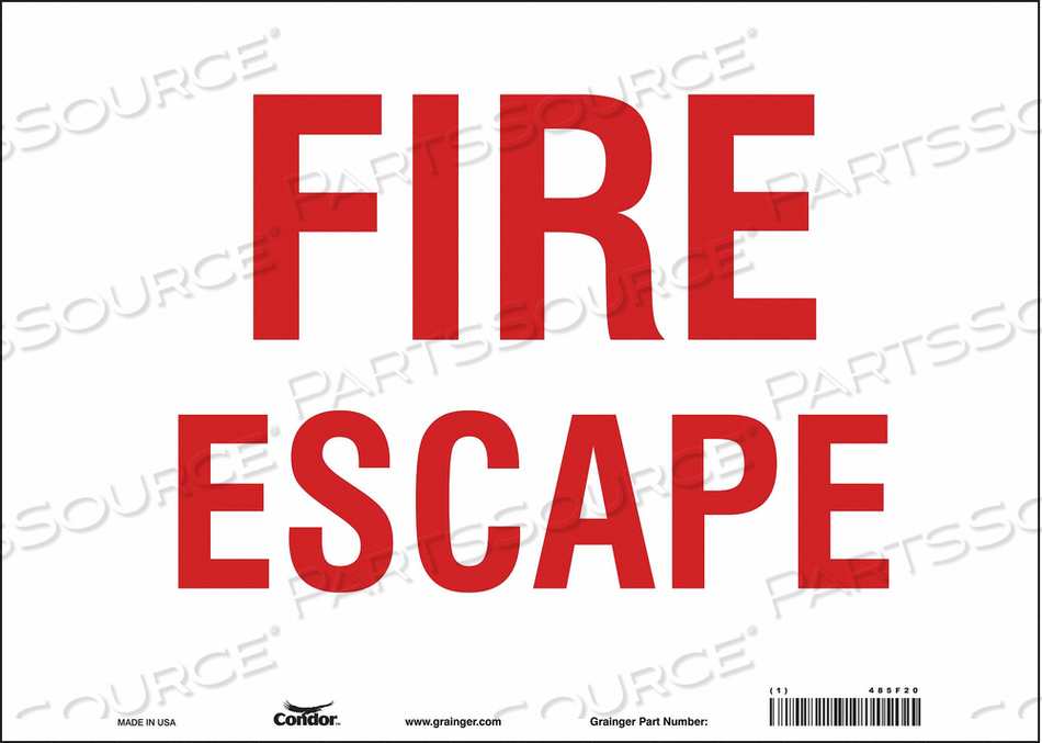 SAFETY SIGN FIRE ESCAPE 10 X14 by Condor