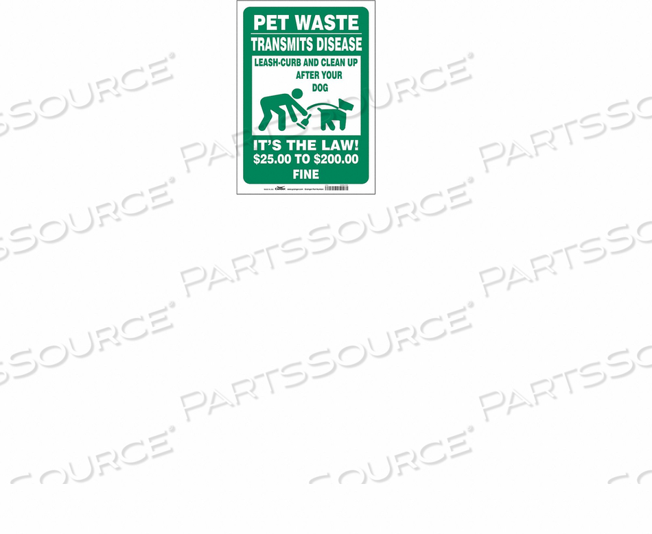 SAFETY SIGN 10 WX14 H 0.004 THICK by Condor