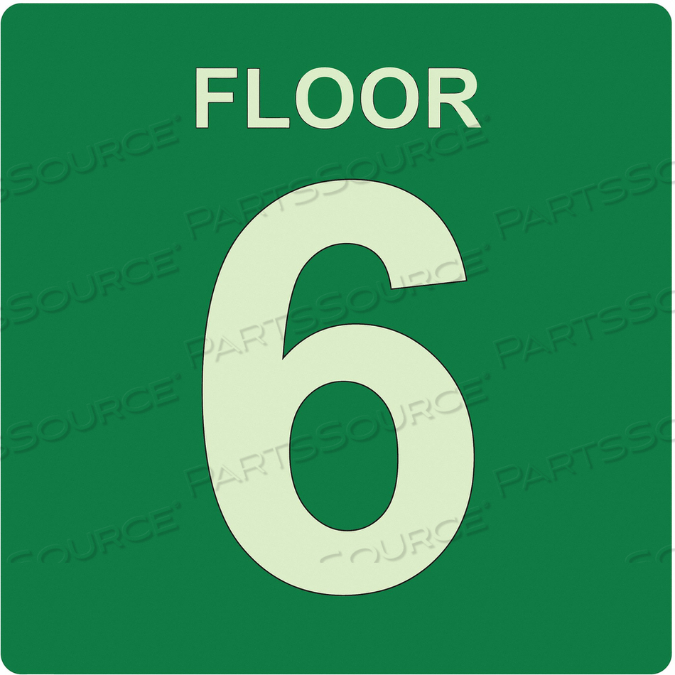 SIGN FLOOR 6 GREEN ENGLISH PVC by Ability One