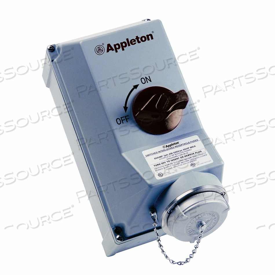 INTERLOCKED RECEP SWITCH FUSED 60A 4P 3W by Appleton Electric