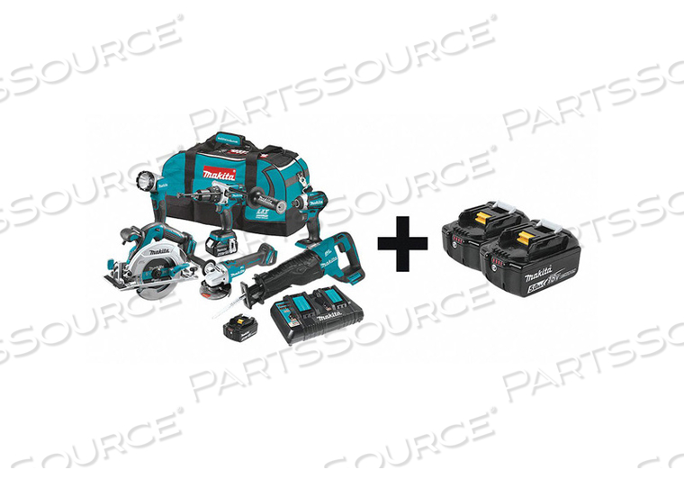 CORDLESS COMBO KIT 18.0V 6 TOOLS 5.0AH by Makita