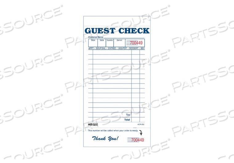 GUEST CHECKS  RECEIPTS PK100 by Daymark