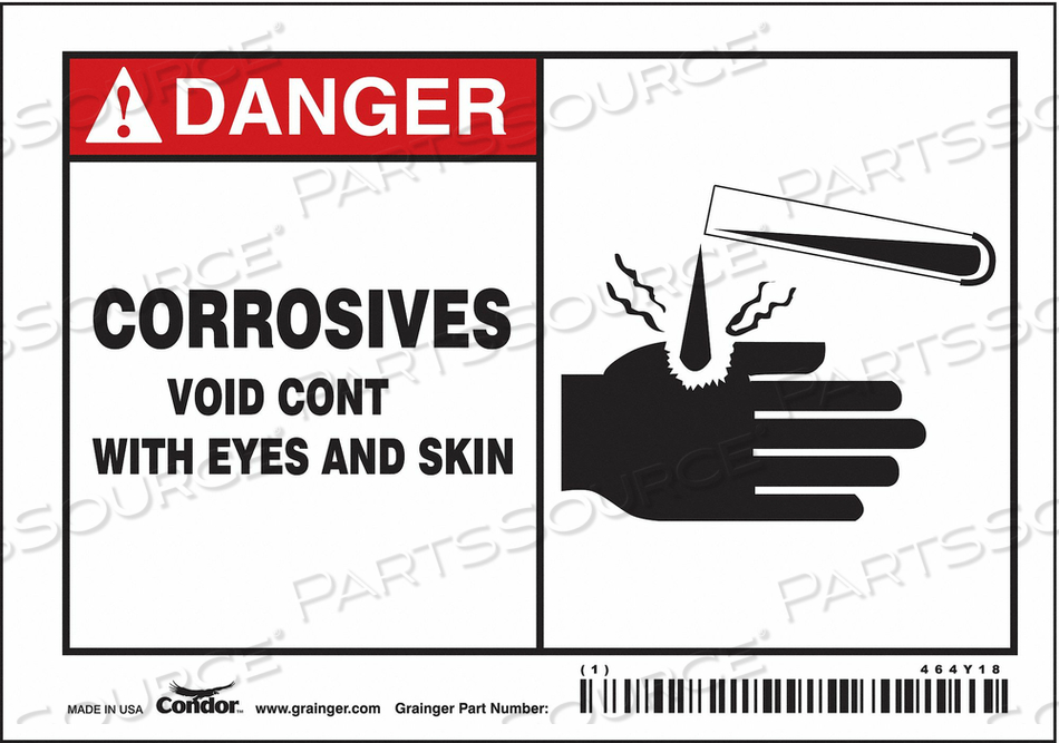 SAFETY SIGN 5 W 3 H 0.004 THICKNESS by Condor