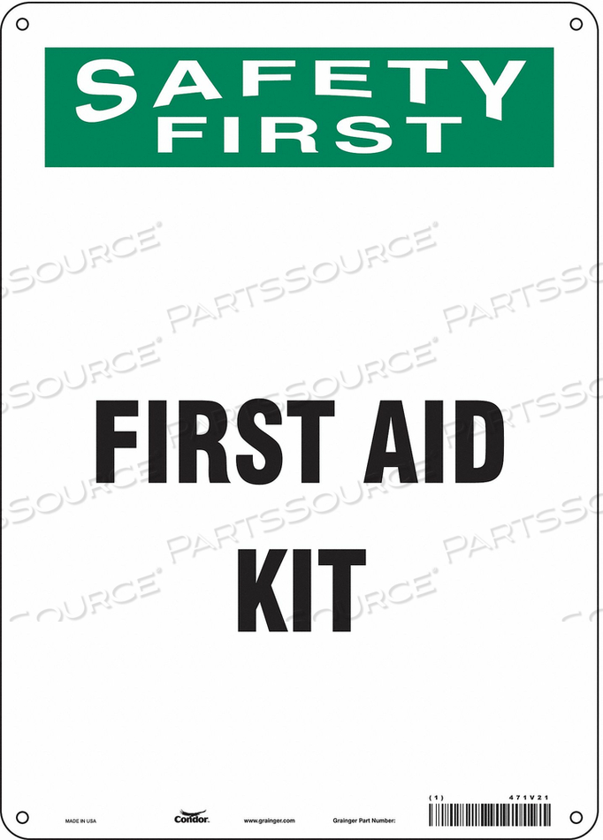 FIRST AID SIGN 10 WX14 H 0.060 THICK by Condor