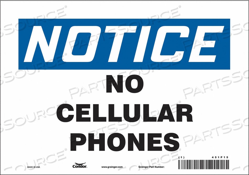 SIGN CELL PHONE 10 W 7 H 0.004 THICK by Condor
