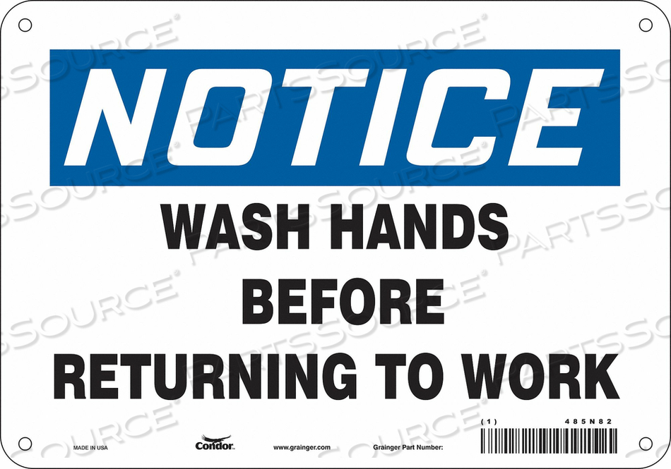 J7172 SAFETY SIGN 10 WX7 H 0.055 THICK by Condor
