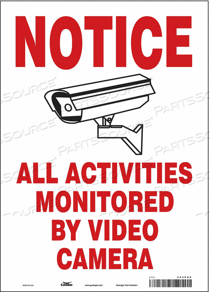 SECURITY SIGN 14 H 10 W VINYL by Condor