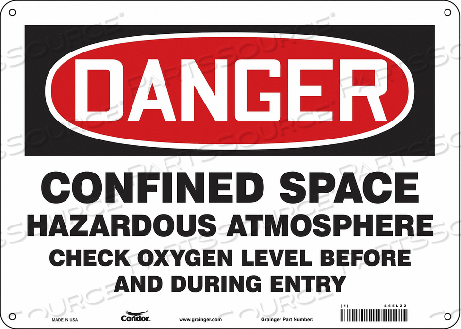 J6918 SAFETY SIGN 10 H 14 W ALUMINUM by Condor