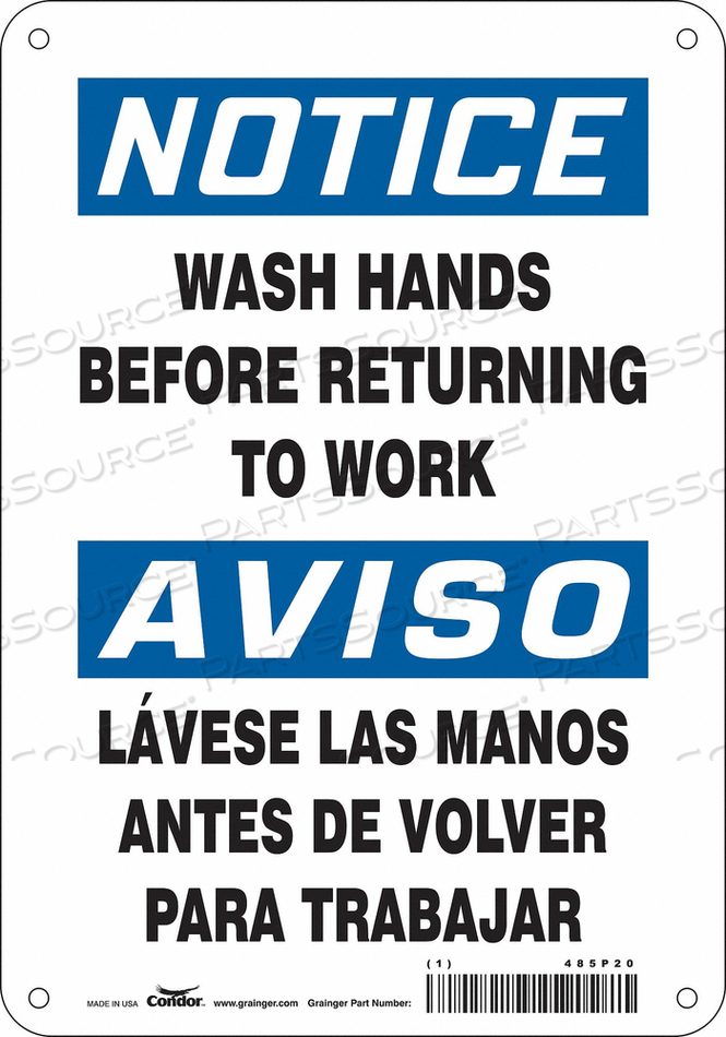 SAFETY SIGN 7 WX10 H 0.032 THICK by Condor