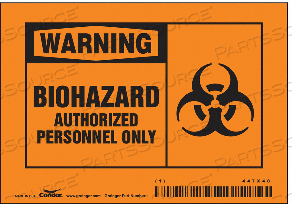 BIOHAZARD SIGN 5 W 3-1/2 H 0.004 THICK by Condor