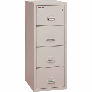 """FIREPROOF 4 DRAWER VERTICAL FILE CABINET - LETTER SIZE 18""""W X 25""""D X 53""""H - LIGHT GRAY by Fire King"""