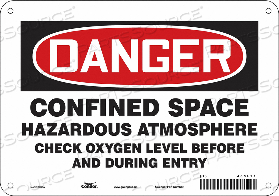 J6918 SAFETY SIGN 7 H 10 W ALUMINUM by Condor