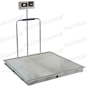 IN-FLOOR DIALYSIS SCALE, 1000 LB, SS DECK, 4 FT X 4 FT, HAND RAIL, 855 RECESSED WALL-MOUNT INDICATOR WITH PRINTER by Detecto Scale / Cardinal Scale