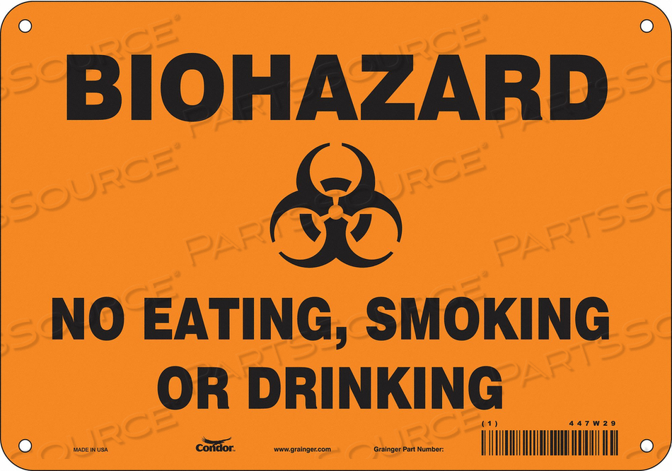 BIOHAZARD SIGN 10 W 7 H 0.032 THICK by Condor