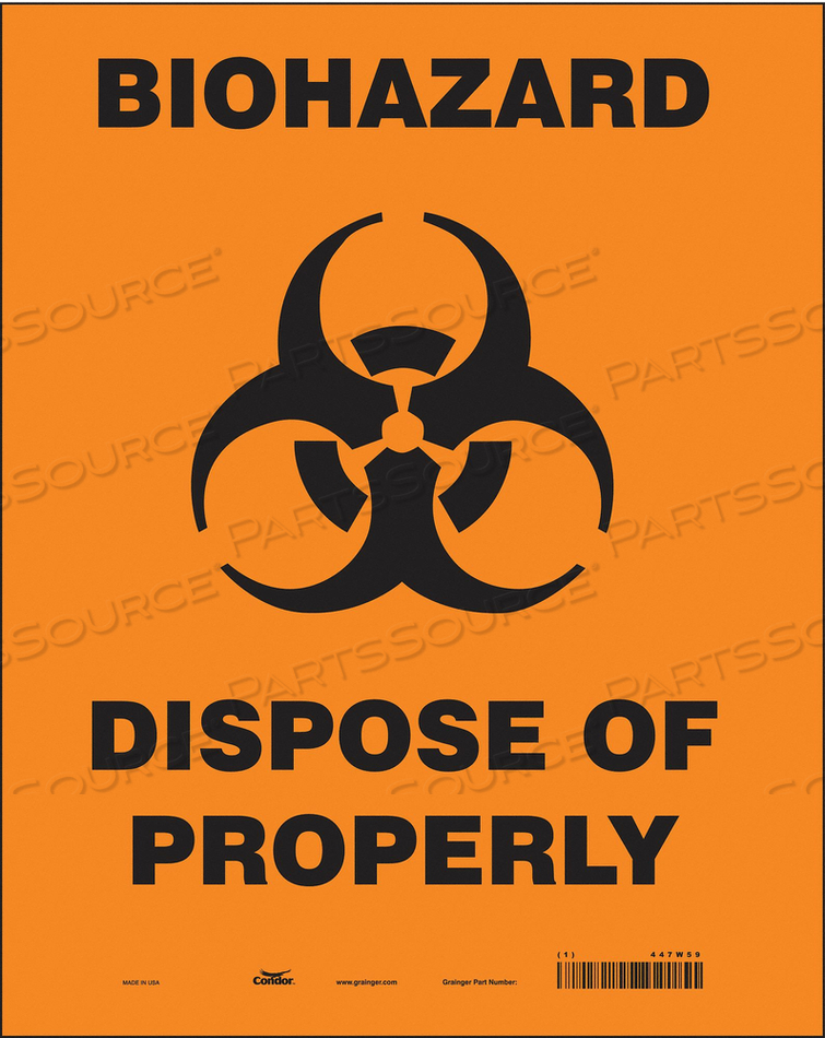 BIOHAZARD SIGN 10 W 14 H 0.004 THICK by Condor