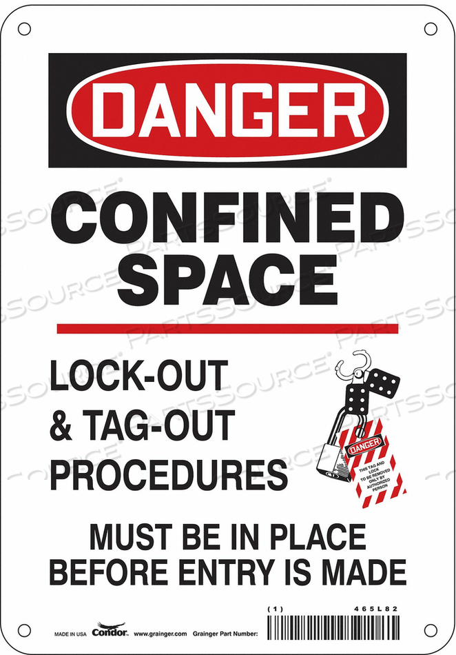 SAFETY SIGN 10 H 7 W ALUMINUM by Condor