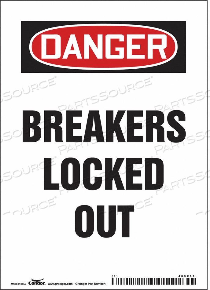 LOCKOUT SIGN 5 W 7 H 0.004 THICKNESS by Condor