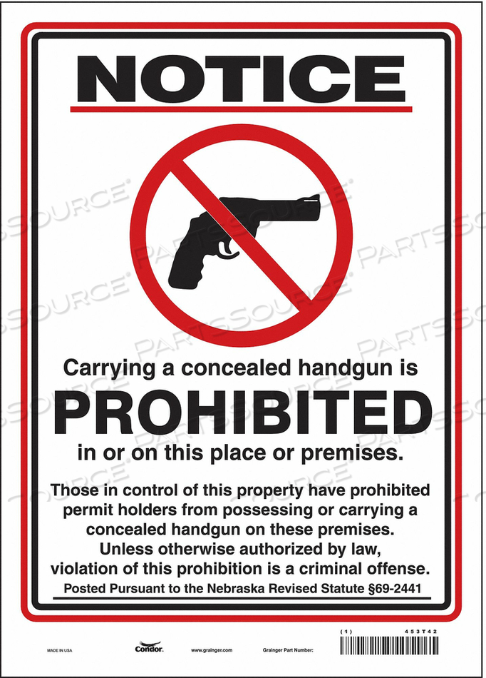 NO CONCEALED WEAPONS SIGN 10 W 14 H by Condor