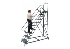 SAFETY ROLLING LADDER STEEL 120 IN.H by Ballymore