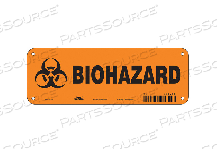 BIOHAZARD SIGN 10 W 3-1/2 H 0.055 THICK by Condor