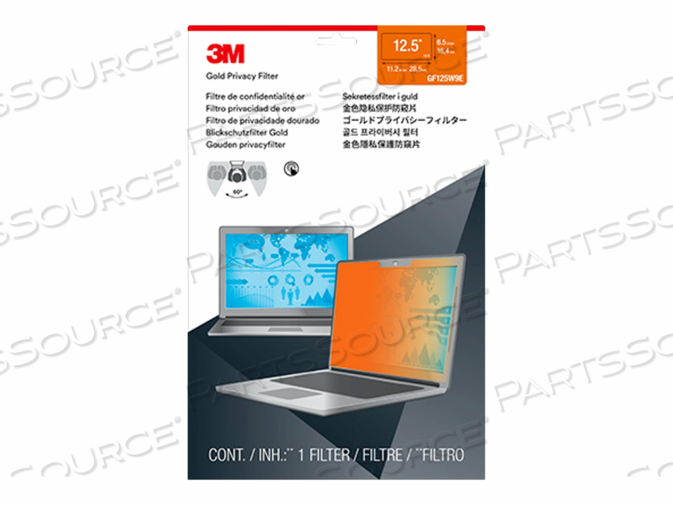"""3M GOLD PRIVACY FILTER FOR 12.5"""" WIDESCREEN LAPTOP - NOTEBOOK PRIVACY FILTER - 12.5"""" WIDE - GOLD by 3M Consumer"""