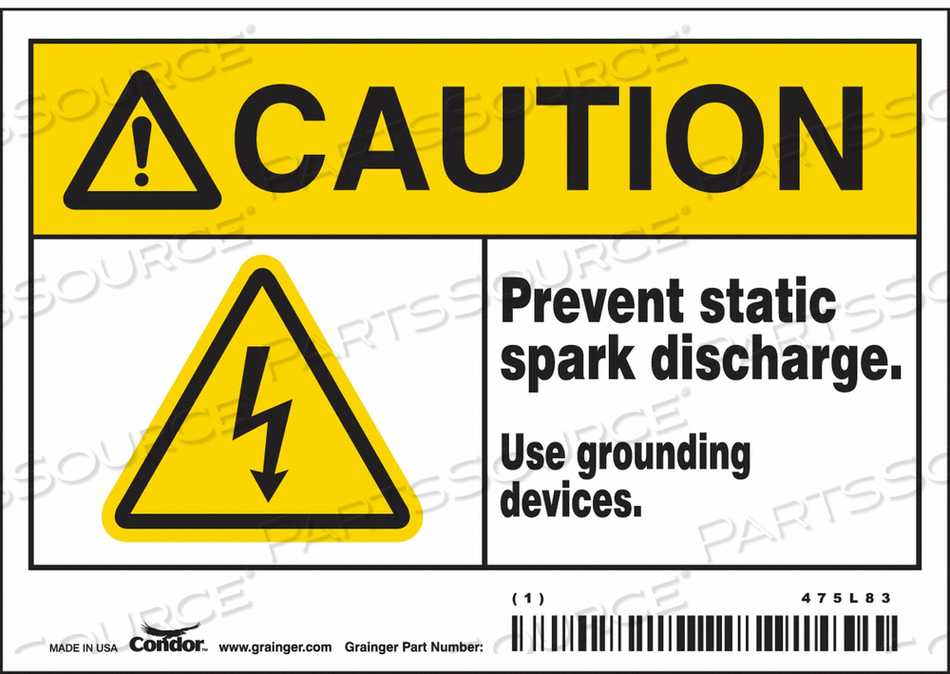 DANGER SIGN 5 W X 3-1/2 H 0.004 THICK by Condor