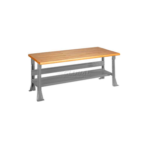 """C-CHANNEL FIXED HEIGHT WORKBENCH - MAPLE BUTCHER BLOCK SAFETY EDGE 60""""W X 30""""D X 34""""H GRAY by Equipto"""