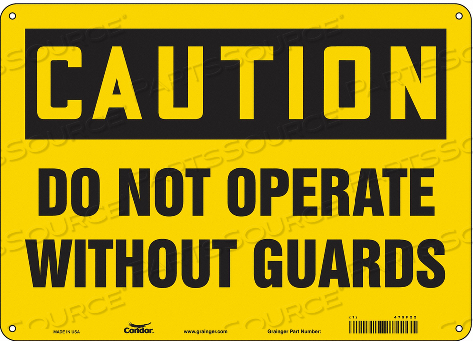 J6948 SAFETY SIGN 14 WX10 H 0.055 THICKNESS by Condor