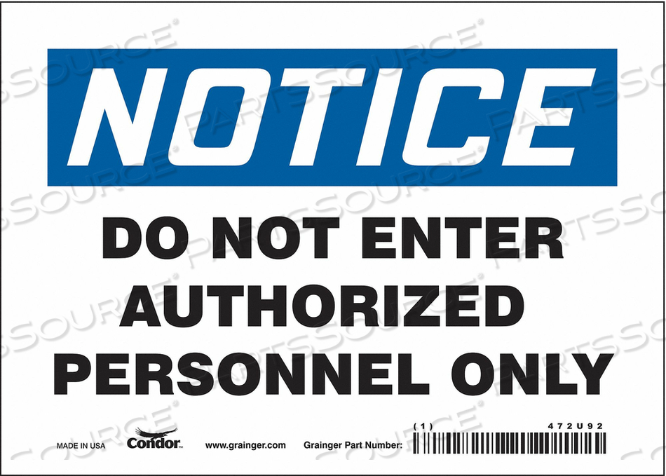 SAFETY SIGN DO NOT ENTER 5 X7 by Condor