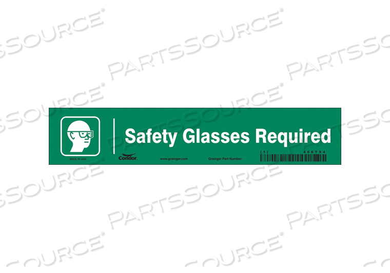 SAFETY SIGN 9 W 1-3/4 H 0.004 THICK by Condor