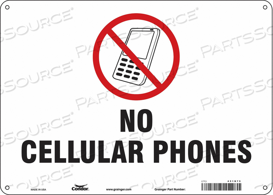 SIGN CELL PHONE 14 W 10 H 0.060 THICK by Condor