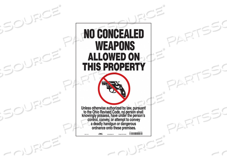 NO CONCEALED WEAPONS SIGN 12 W 18 H by Condor