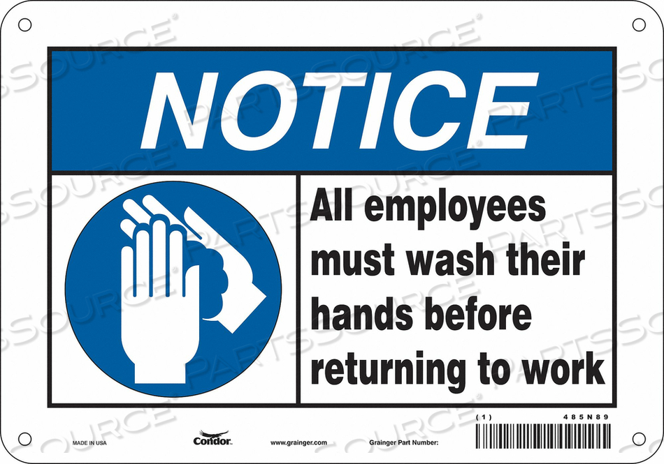 SAFETY SIGN 10 WX7 H 0.055 THICK by Condor