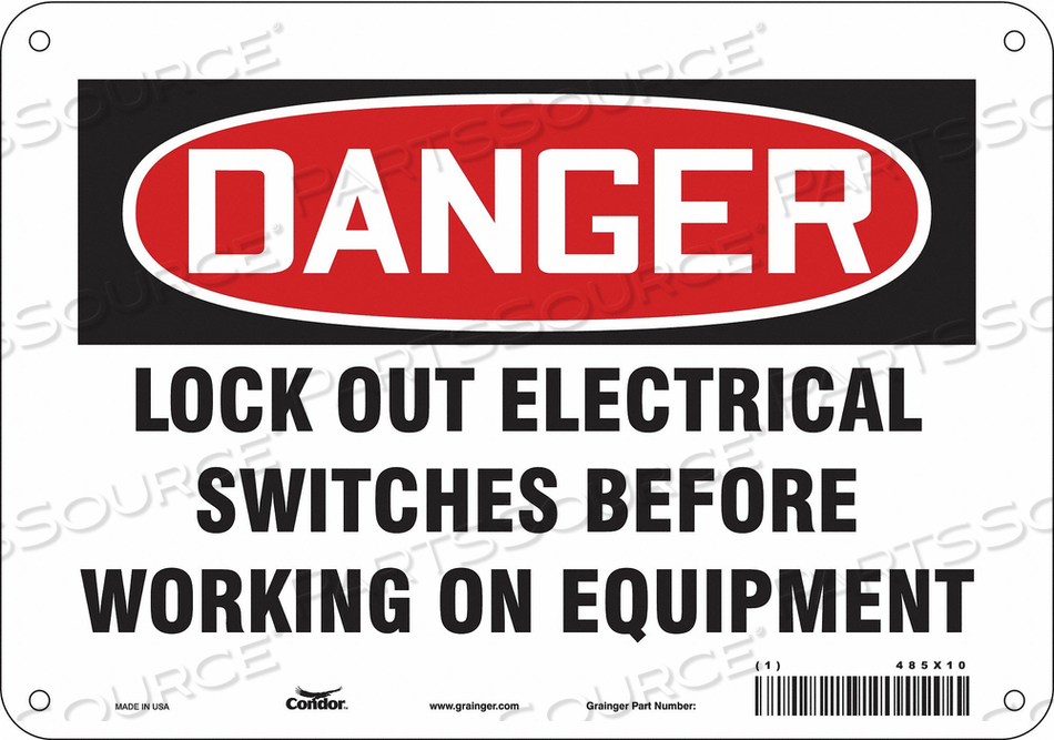 LOCKOUT SIGN 10 W 7 H 0.032 THICKNESS by Condor