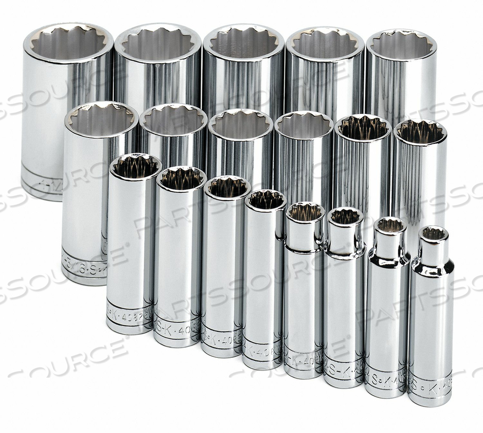 SOCKET SET SAE 1/2 IN DR 19 PC by SK Professional Tools