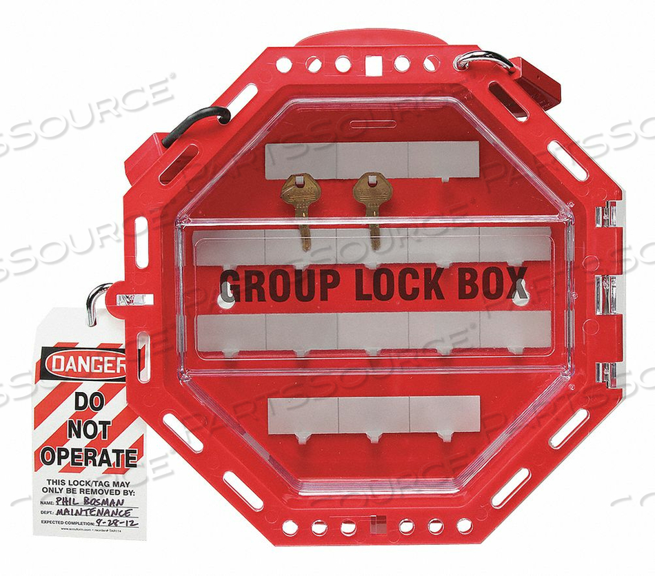 GROUP LOCKOUT BOX 42 PADLOCKS RED 13IN.H by Condor
