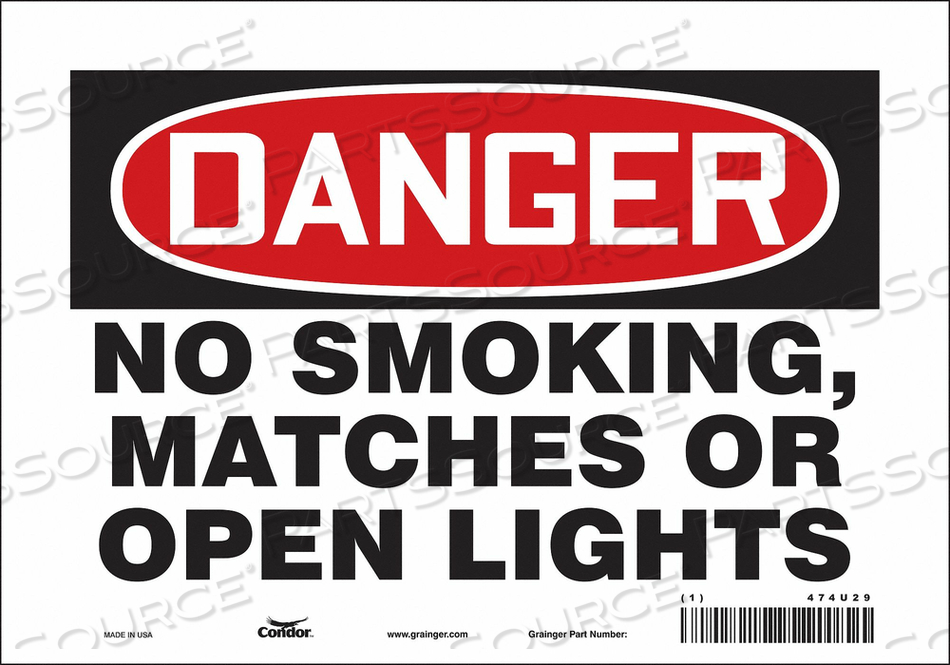J6939 SAFETY SIGN 10 W 7 H 0.004 THICKNESS by Condor