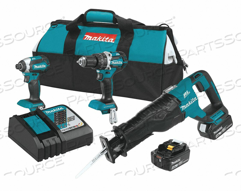 CORDLESS COMBO KIT 18.0 V 3 TOOLS 2 BATT by Makita