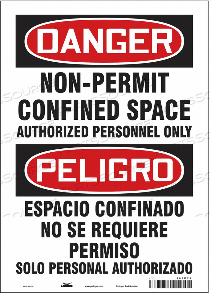 SAFETY SIGN 14 H 10 W VINYL by Condor