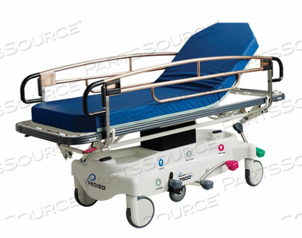TRAUMA/TRANSPORT STRETCHER, WIDE, CENTER COLUMN HYDRAULIC HEIGHT ADJUSTMENT, STANDARD LITTER, INSTANT STEER 6TH WHEEL STEERING, QUICK-RELEASE O2 HOLDER, 750 POUND CAPACITY. by Pedigo Products, Inc.