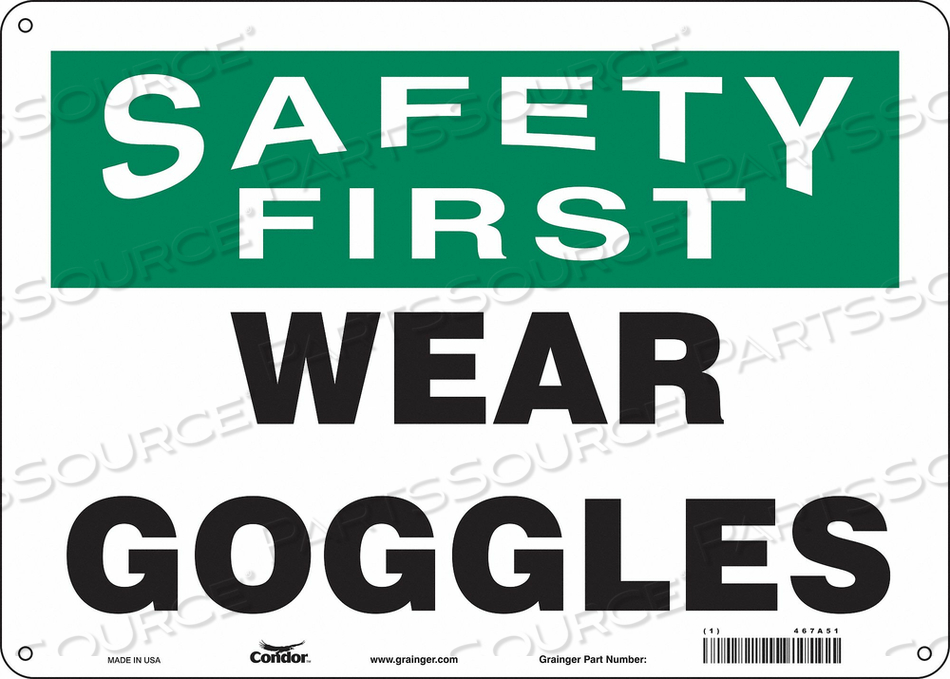 J7029 SAFETY SIGN 14 W 10 H 0.060 THICKNESS by Condor