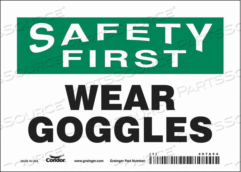 J7029 SAFETY SIGN 7 W 5 H 0.004 THICKNESS by Condor