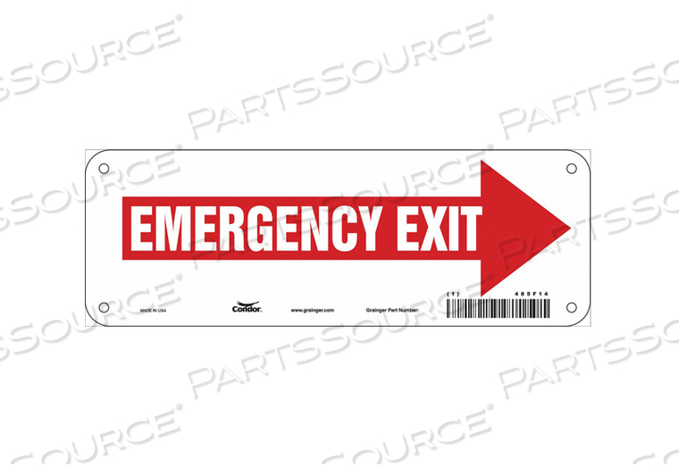 SAFETY SIGN EMERGENCY EXIT 3-1/2 X10 by Condor