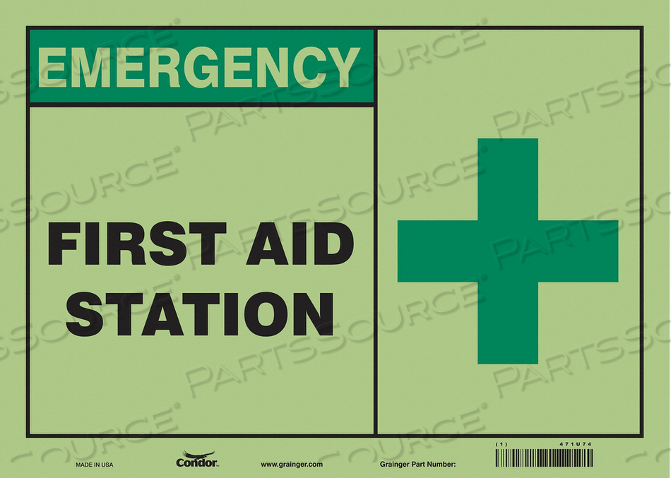 FIRST AID SIGN 14 WX10 H 0.010 THICK by Condor