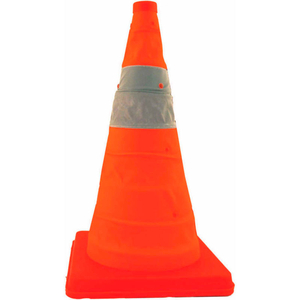 """28"""" PACK N POP COLLAPSIBLE TRAFFIC CONE, ORANGE, PLASTIC BASE, 5/PACK by Cortina"""