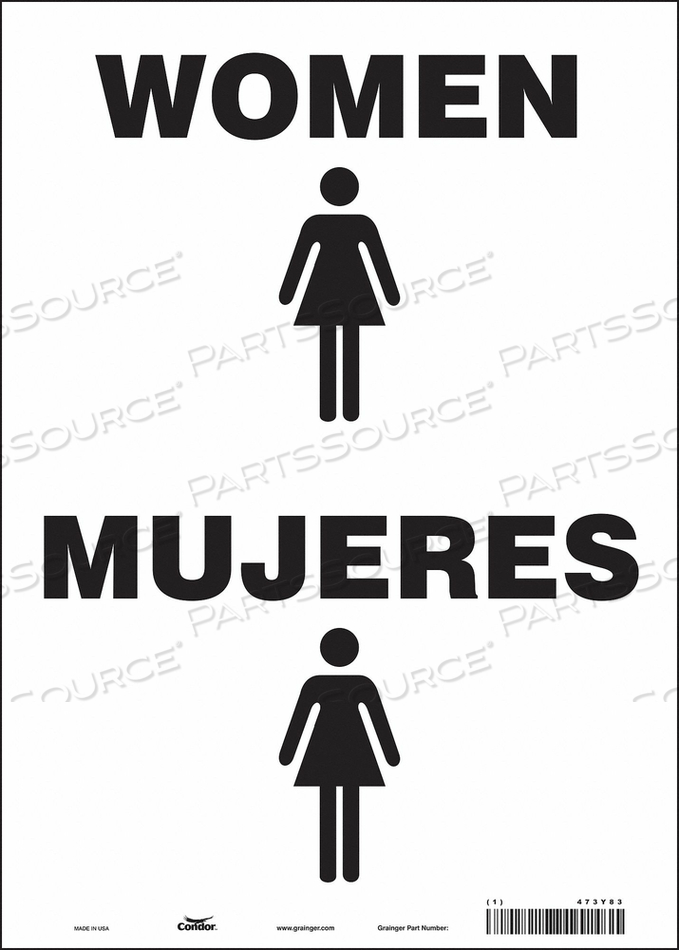 RESTROOM SIGN 10 W 14 H 0.004 THICK by Condor