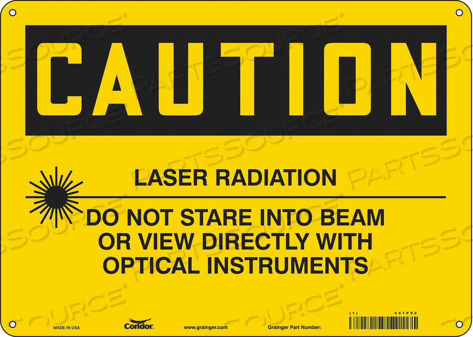 LASER WARNING 14 W 10 H 0.060 THICK by Condor
