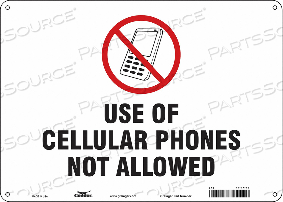 SIGN CELL PHONE 14 W 10 H 0.032 THICK by Condor