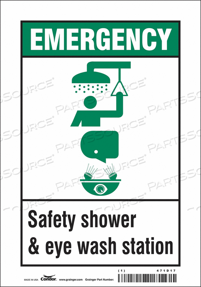 SAFETY SIGN 7 W X 10 H 0.004 THICK by Condor