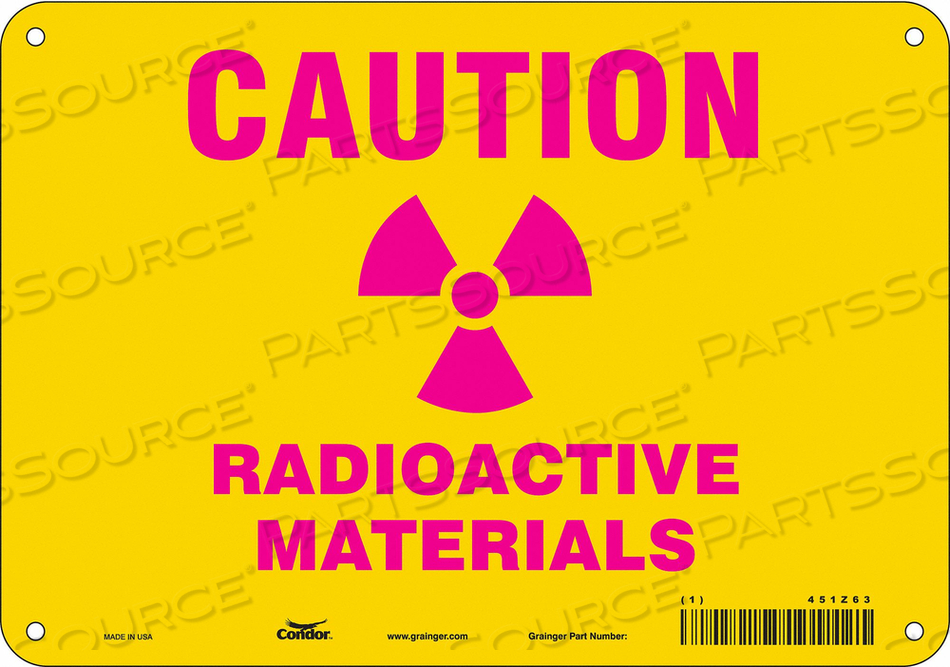 J7006 RADIATION SAFETY SIGN PLASTIC 7 H by Condor